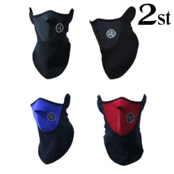 Dubbelpack - Svart cykelmask - Skidmask - Ansiktsmask - MC-mask Svart one size