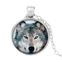 Halssmycke i glas med motiv [K05] - Varg [Silver] Silver
