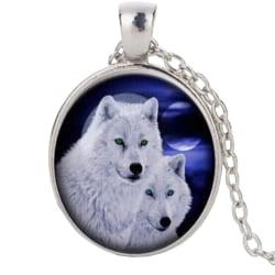 Halssmycke i glas med motiv [K08] - Två vita vargar [Silver] Silver Silver