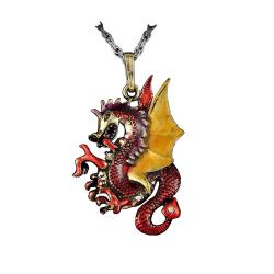 Halssmycke - Röd drake - 70cm Halsband Red Röd
