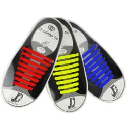 Lata skosnören - Silikon elastisk gummi - 8 hålpar - Röd Röd one size