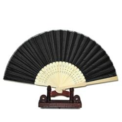 Solfjäder - Enfärgad svart i chiffong med träbas Svart