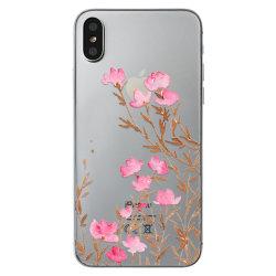 iPhone X/XS | Mjukt Genomskinligt Skal med Rosa Blommor! Transparent