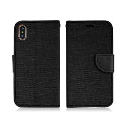 iPhone X/XS | Plånboksfodral i Tyg & Läder, Svart! Svart