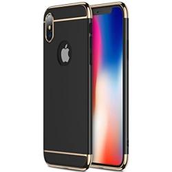 iPhone X/XS | Svart Slimmat Skal med Guldig Kant! Svart