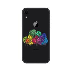 iPhone XR - Genomskinligt, Mjukt Skal med Färgglada Träd! Transparent