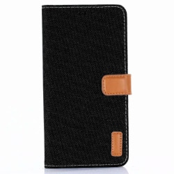 iPhone XS Max | Plånboksfodral med Läderdetaljer Svart