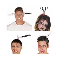 Halloween accessoarer, knivar etc  genom huvudet m diadem diadem - hammare