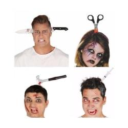 Halloween accessoarer, knivar etc  genom huvudet m diadem diadem - kniv