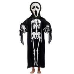 Halloweendräkt skelett + handskar + mask BARN