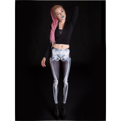 X-RAY SKELETON LEGGINGS - bones trousers leggings XS / Black