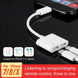 2-Pack Dual Port Lightning Adapter Splitter iPhone 7/8/X/XS/XR White
