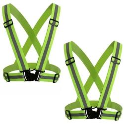 2-Pack Reflexväst - Säkerhetsväst -Reflexsel Hög synlighet Limegrön