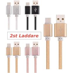2-Pack USB-C 3.1 Laddkabel 2M Fast Charging Extra Lång Svart