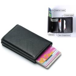 RFID-Säkert läderjacka korthållare skjuter fram 8st kort m o sed Svart