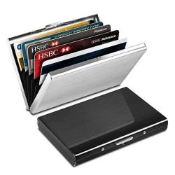 Rostfri - Korthållare med fack - Skyddar RFID - plånbokmetall Svart