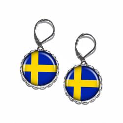 Örhängen Brons Silver Brisyr Svenska Flaggan Heja Sverige Sweden Silver