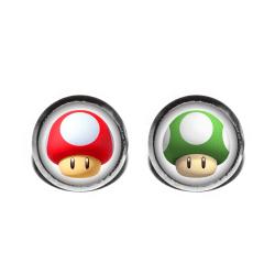 Örhängen Stift Studs Super Mario Bros Mushroom Green Red Game Rostfritt stål