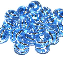 Transparenta akrylpärlor med etsat mönster i silver 12mm - Blue