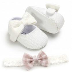 Spädbarn Flickaskor Nyfödda Småbarn Mjuk Sula Babyskor Vit 0-6 månader