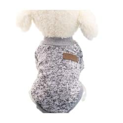 Ull Hoodie Vinter Husdjurskläder Stickad Katthundtröja grå S