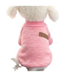 Ull Hoodie Vinter Husdjurskläder Stickad Katthundtröja Rosa Xs