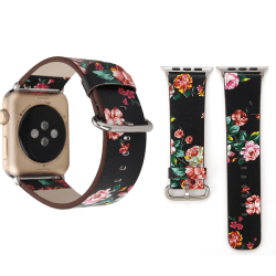 Armband för Apple Watch 42mm - Konstläder blommig Svart & Multifärgat