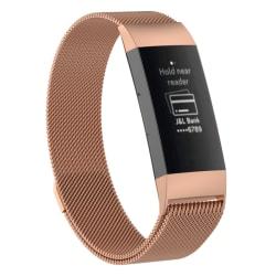 Armband för Fitbit Charge 3 - Kedja Magnetisk Roséguld Small (120-170mm)