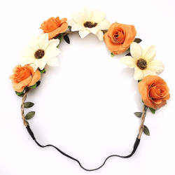 Hårband - Blandade blommor till Midsommar Orange