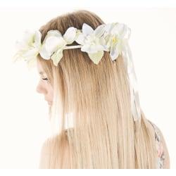 Hårkrans - Blommor vit
