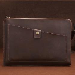 Laptopväska - Äkta läder mörkbrun 12-tum
