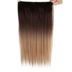 Mizzy löshår rakt 5 Clip on dip dye - Brun&Blond #4T24