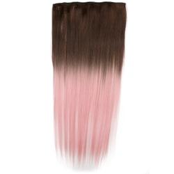 Mizzy löshår rakt 5 Clip on dip dye - Brun & Ljusrosa
