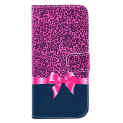 Plånboksfodral iPhone 6/6S PLUS - Leopard & rosa rosett
