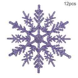 12Pcs Powder Coated Snowflake Plastic Christmas Tree Pendant QZ