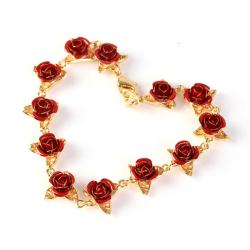 1PCS Rose Bracelet Adjustable Fashion Jewelry Valentines Gift Gold