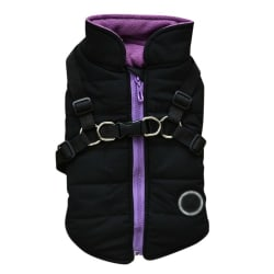 2 In 1 Dog Padded Jacket+Vest Harness Winter Warm Coat B XXL
