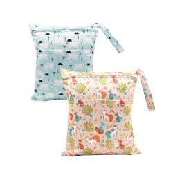 2 PCS Baby Diaper Bag Waterproof with Double Zipper Snap Button as the picture