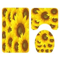 3PCS Washable Household Sunflower Soft Non Slip room Rug Mats