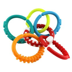6Pcs Rainbow Circle Link Baby Toy Teether Rings Crib Can Hanger