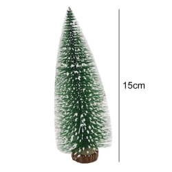 Artificial Pine Tree With Wooden Base Desktop Xmas Tree Decor Green 15CM