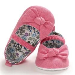 Baby flicka bowknot blommiga foder mjuka botten skor för småbarn