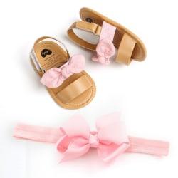 Baby Girl Bowknot PU Princess Sandals + Headband 2pcs set P 0-6Months
