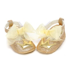 Baby Girl PU Leather Shoes Crown Mesh Bow Soft Soled Non-slip J 0-6Months