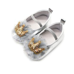 Baby Girl Sequin Crown Princess Shoes Gray 0-6Months
