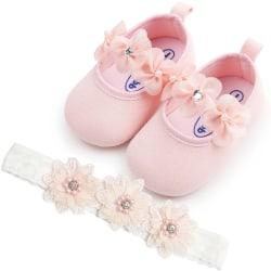 Baby flicka Sötblommig prinsessa småbarnsskor + pannband 2st set
