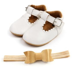 Baby Leopard PU Leather Toddler Shoes+ Headband White 7-12 Months