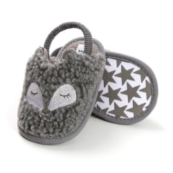 Baby Plush Cute soft sole indoor shoes Gray 0-6Months