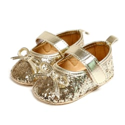 Baby Shiny PU Bow Princess Toddler Shoes Gold 0-6Months