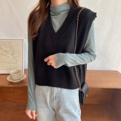 Casual Women Sweaters V-neck Sleeveless Solid Color Vest Black